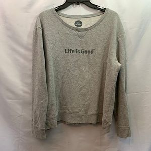 Life is Good Size L Grey Pull Over Sweater